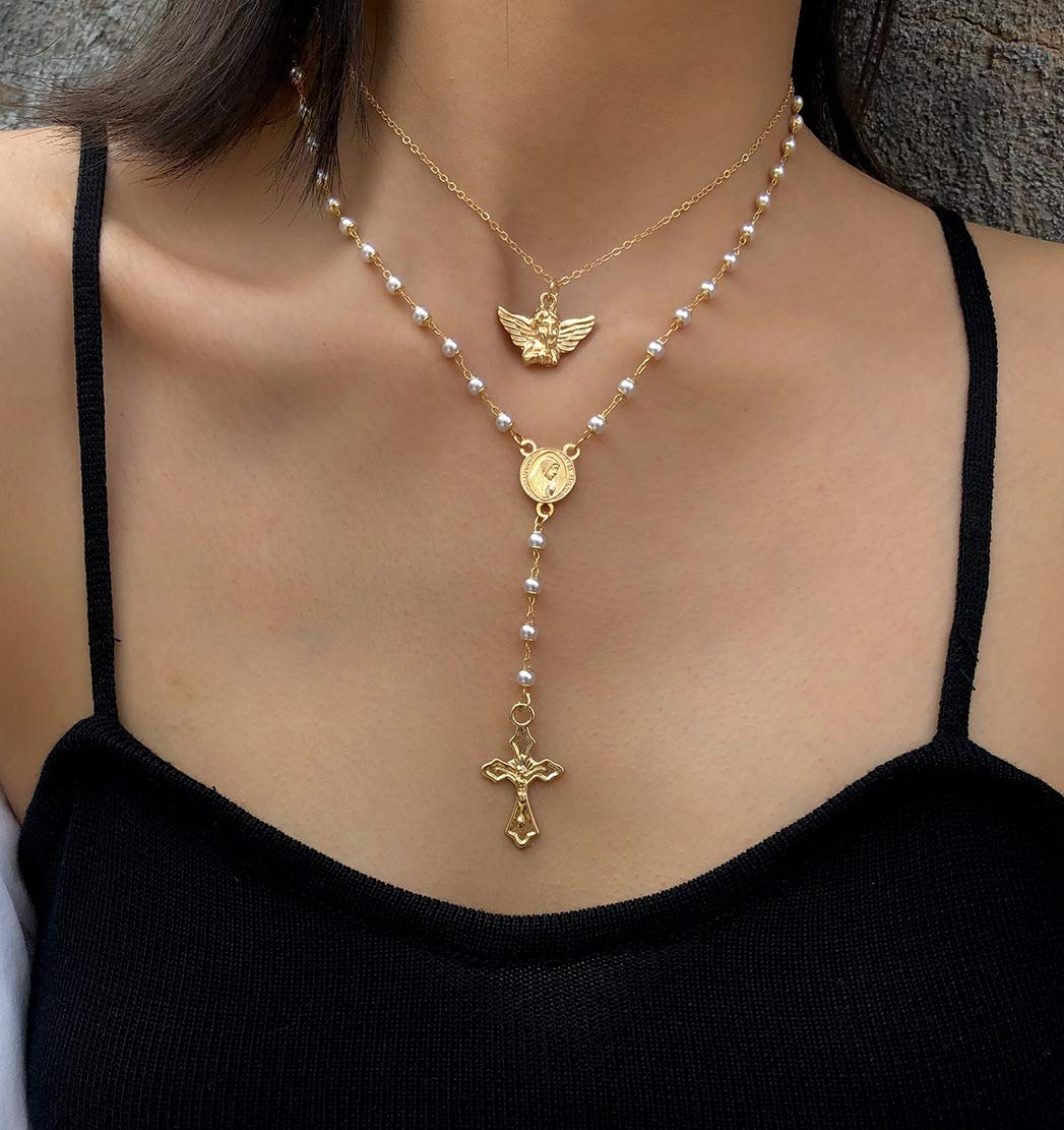 Bronze Cross Rosary 24/' Necklace /& Saint Mary Gold Pendant 19/' Necklace Designed by Petals Jewelry set, 2 necklaces