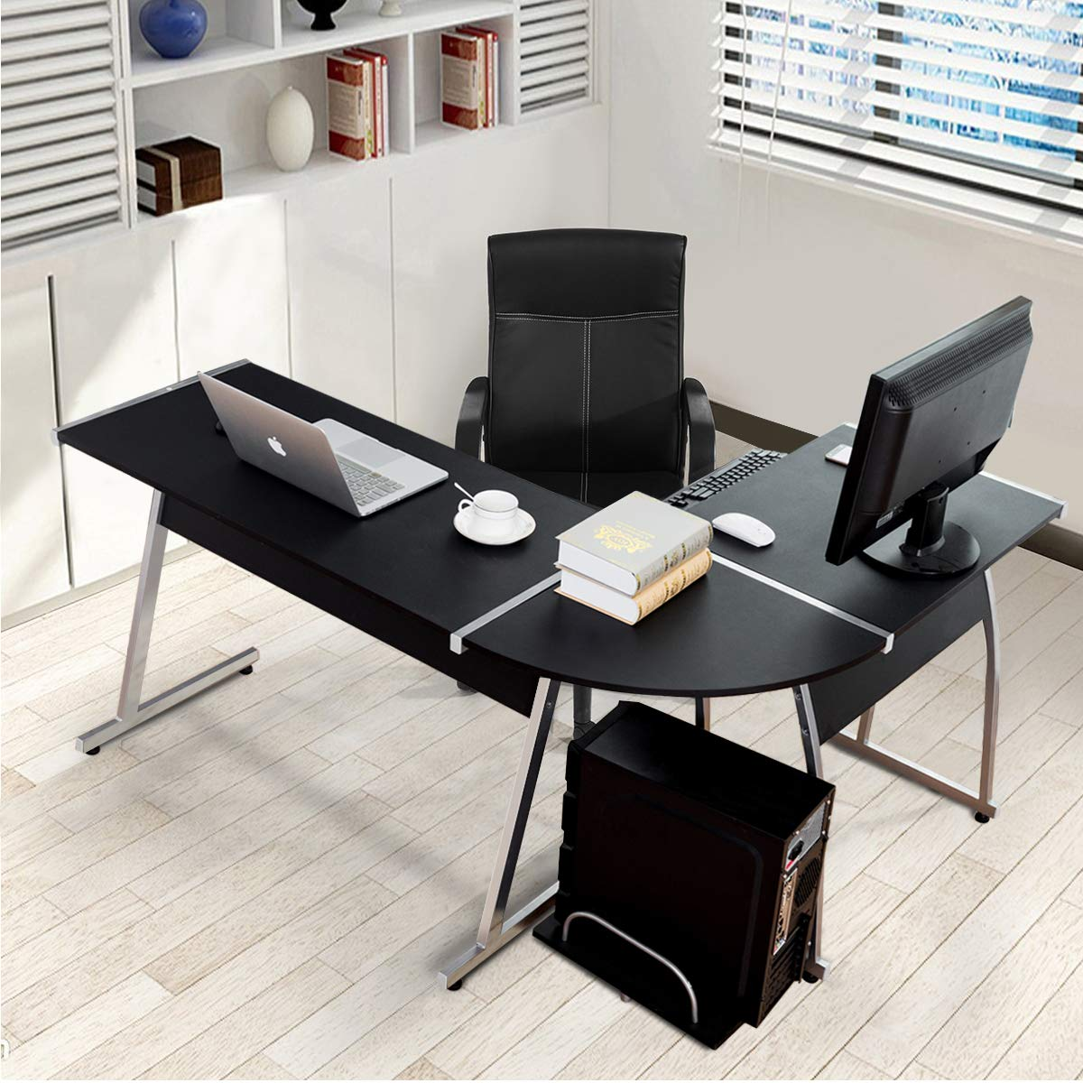 Tangkula l shaped desk corner desk home office desk pc workstation with keyboard tray cpu stand wood steel frame writing table modern l shaped