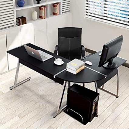 Amazoncom Tangkula L Shaped Desk Corner Desk Home Office Desk Pc