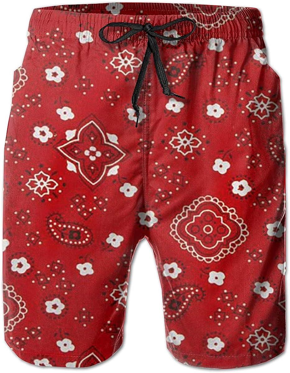 Mens Beach Shorts Red Bandana Swim Trunk with Pockets