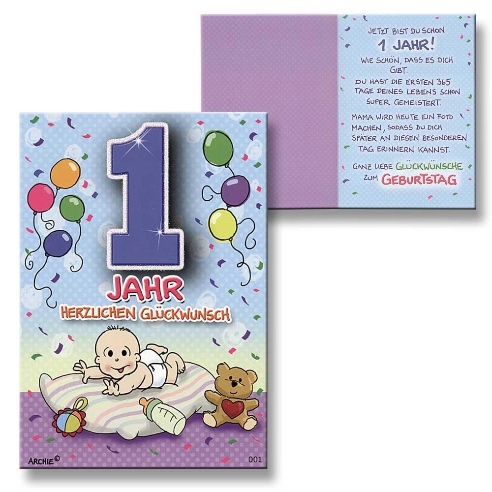 Archie Geburtstagskarte Zum 1. Geburtstag Junge Blau Glückwunschkarte  Kinder: Amazon.de: Bürobedarf U0026 Schreibwaren