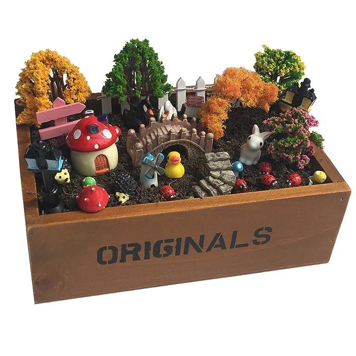 Vtete 7.5 Inch Succulent Plant Container Box with 4 Pcs Faux Plants and 30 Pcs Miniature Fairy Ornament DIY Kit