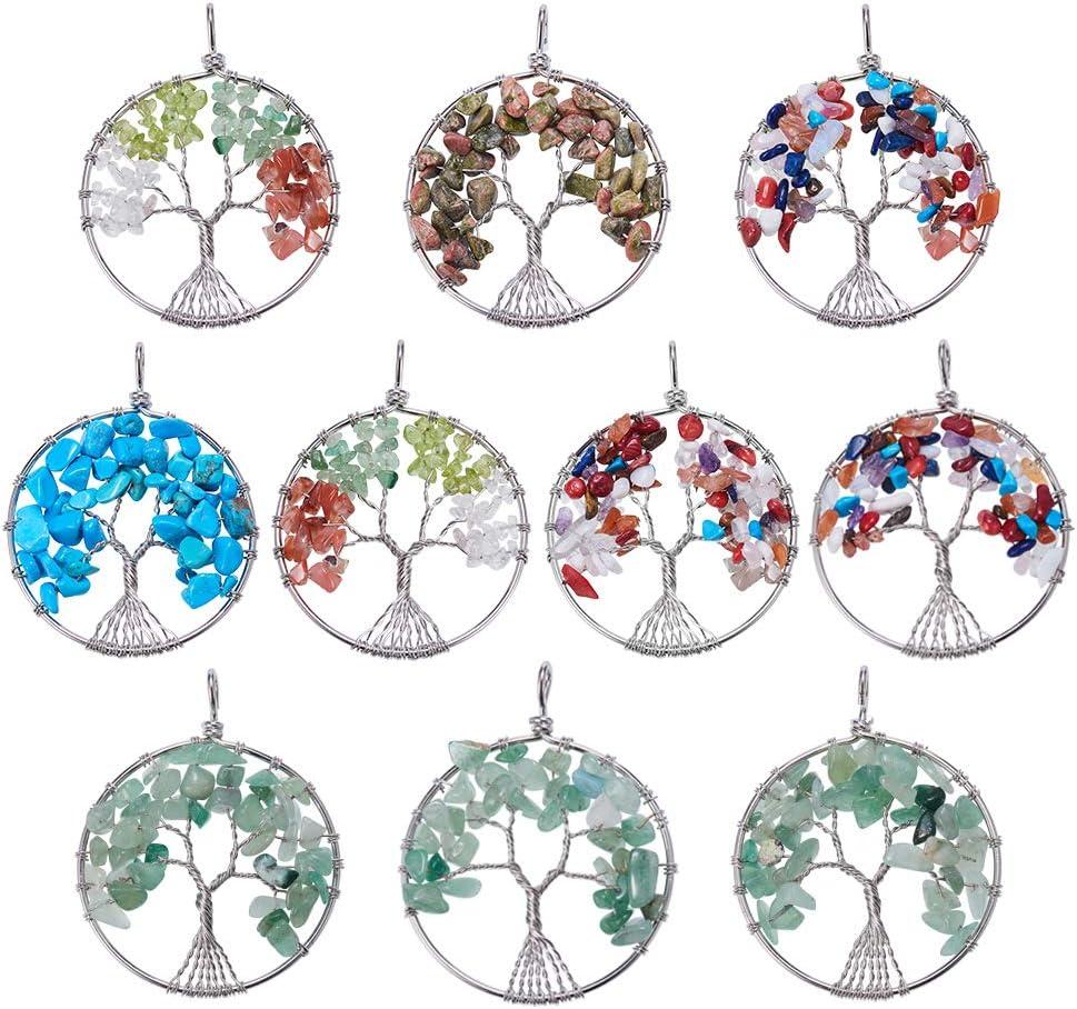 NBEADS Colgantes del árbol de la Vida, 10 Piezas de hallazgos de Metal Redondo de Color Mixto con Cuentas de Piedra para Hacer Joyas de Collar y decoración de Bricolaje