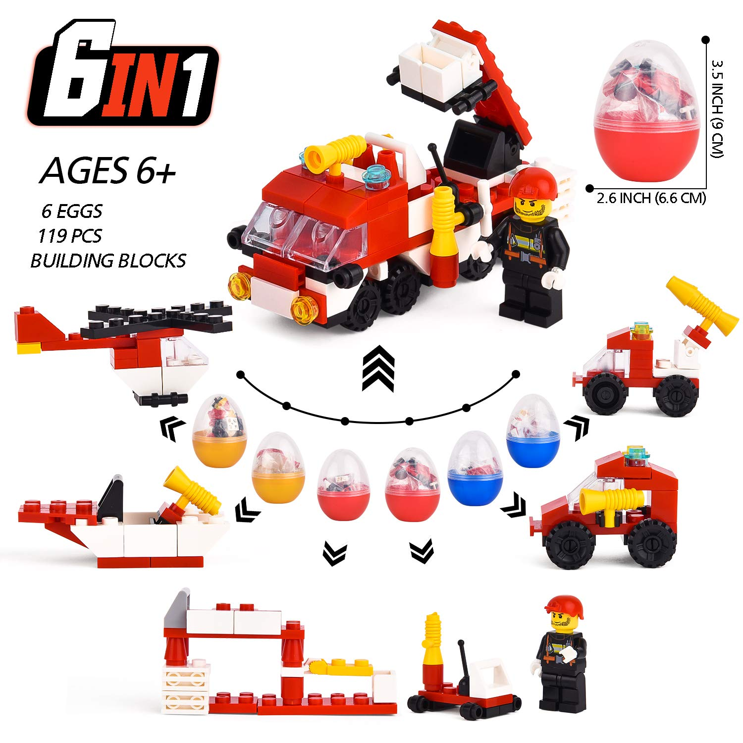 FILWO Easter Eggs, 6 PCS Eggs Toy Surprise Eggs for Boys Easter Toys Basket Fillers 3.5 Inchs Plastic Eggs with Toy Car Inside Easter Egg Stuffer 119 PCS Building Block Fire Truck Party Supplies (Red)