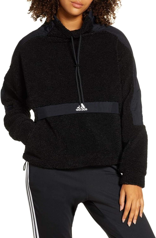 adidas Women's High-Neck Pullover Polar Fleece Sweater, Black XL: Clothing
