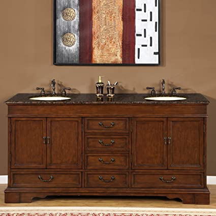 Superbe Silkroad Exclusive Baltic Brown Granite Stone Top Double Sink Bathroom Vanity  Cabinet, 72 Inch