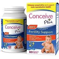 Conceive Plus Men's Fertility Vitamins – Boost Testosterone, Increase Sperm Production – Zinc, Folate, Maca Root, Selenium, Pills – 60 Vegetarian Soft Capsules
