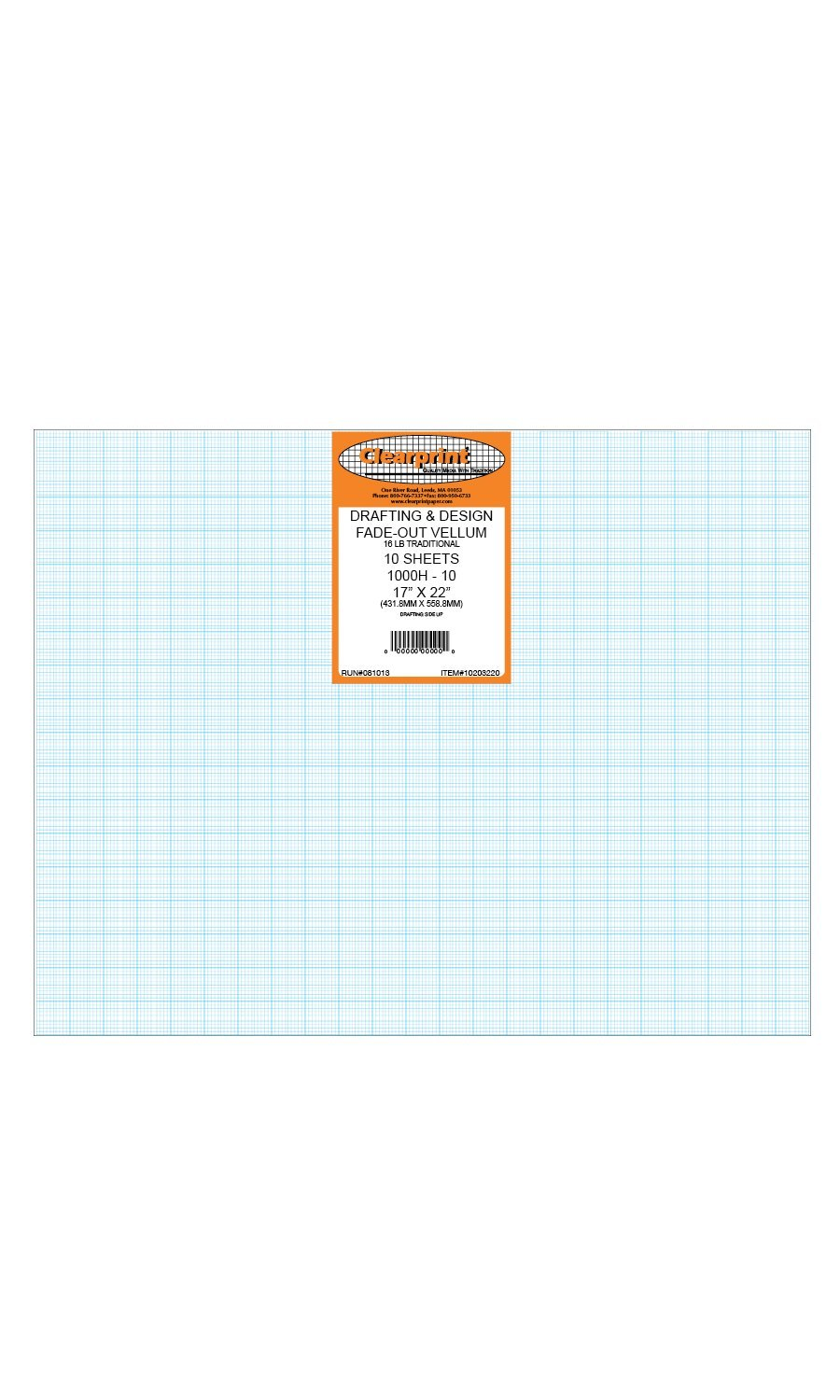 Clearprint 1000H Design Vellum Sheets with Printed Fade-Out 10x10 Grid, 16 Lb., 100% Cotton, 17 x 22 Inches, 10 Sheets Per Pack, 1 Each (10203220) by Clearprint