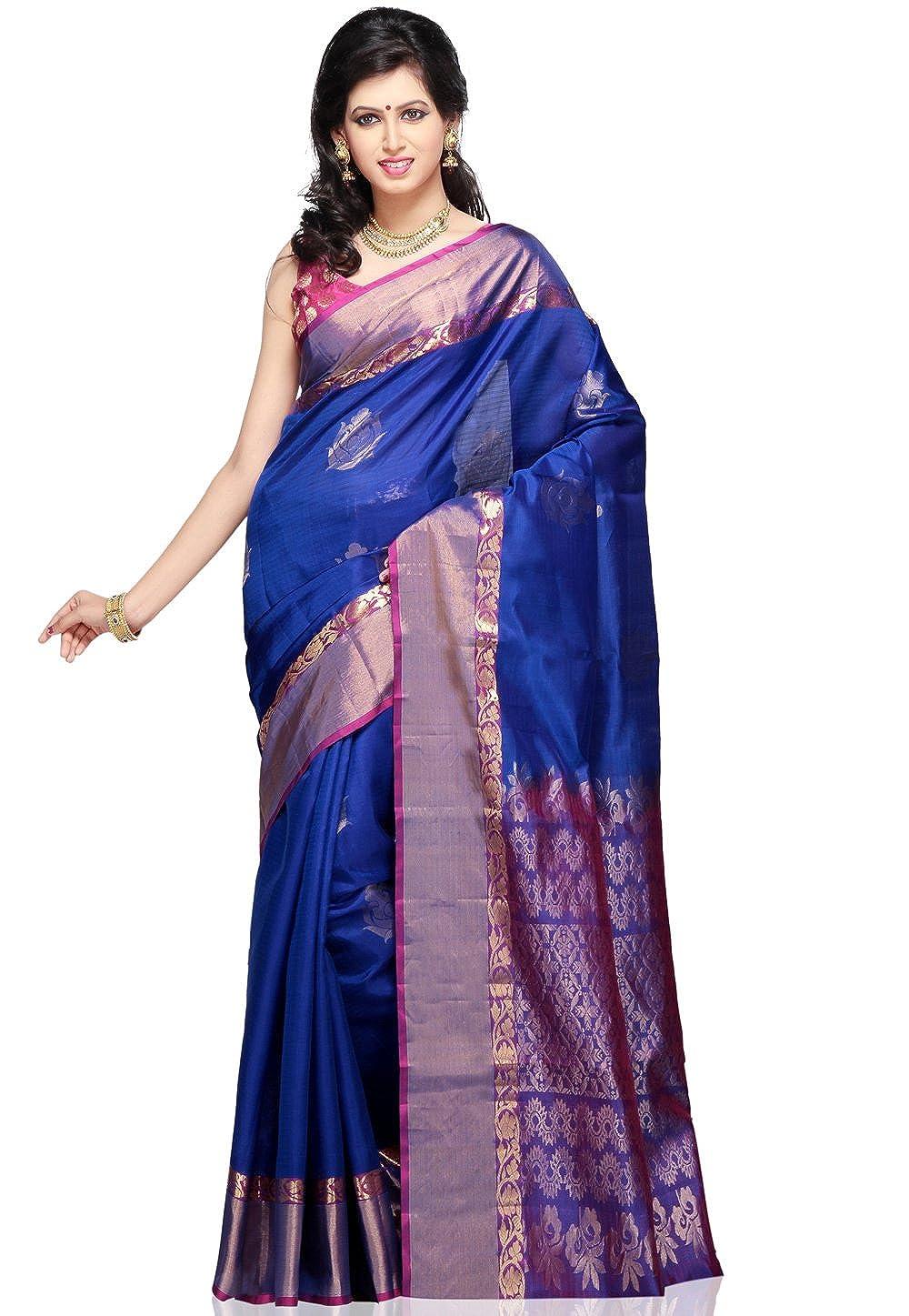 c7e4a62dc47504 Utsav Fashion Women's Dark Blue Pure Kanchipuram Handloom Silk Saree with  Blouse: Amazon.in: Clothing & Accessories
