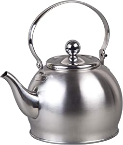 Creative Home 72258 1.0 Qt. Royal Stainless Steel Tea Kettle with Removable Infuser Basket, Folding Handle, 1 Quart