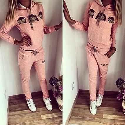 Baymate Damen Trainingsanzug Affe Muster Drucken Hoodie
