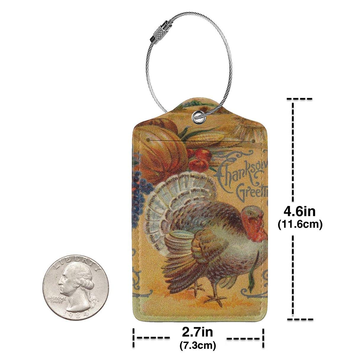 Thanksgiving Day Greeting Turkey Leather Luggage Tags Personalized Address Card With Adjustable Strap