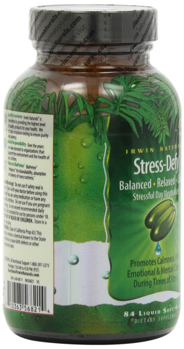 Irwin Naturals Stress-Defy, Balanced Relaxed Calm, Stressful Day Neutralizer, 84 Liquid Softgels by Irwin Naturals (Image #8)