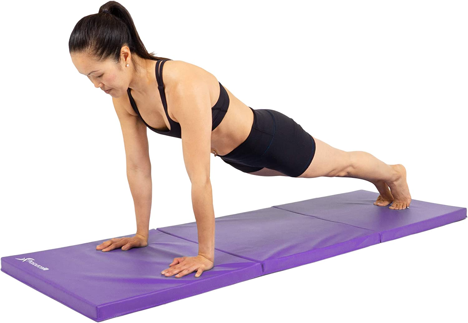 ProsourceFit Tri-Fold Folding Thick Exercise Mat 6'x2' with Carrying Handles for MMA, Gymnastics, Stretching, Core Workouts, Purple : Sports & Outdoors