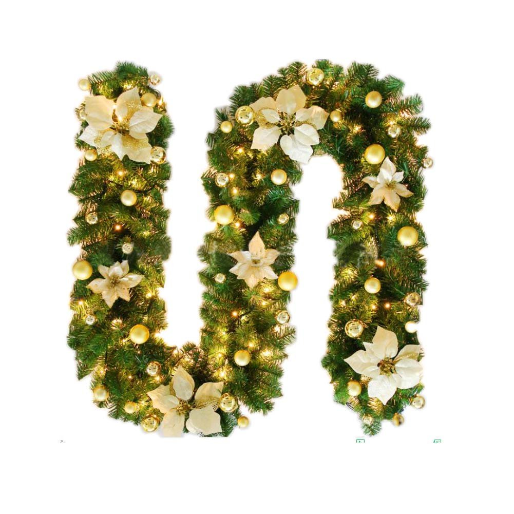 Christmas Wreath Artificial Garland With LED Lights Decorations Xmas Outdoor Indoor Ornaments