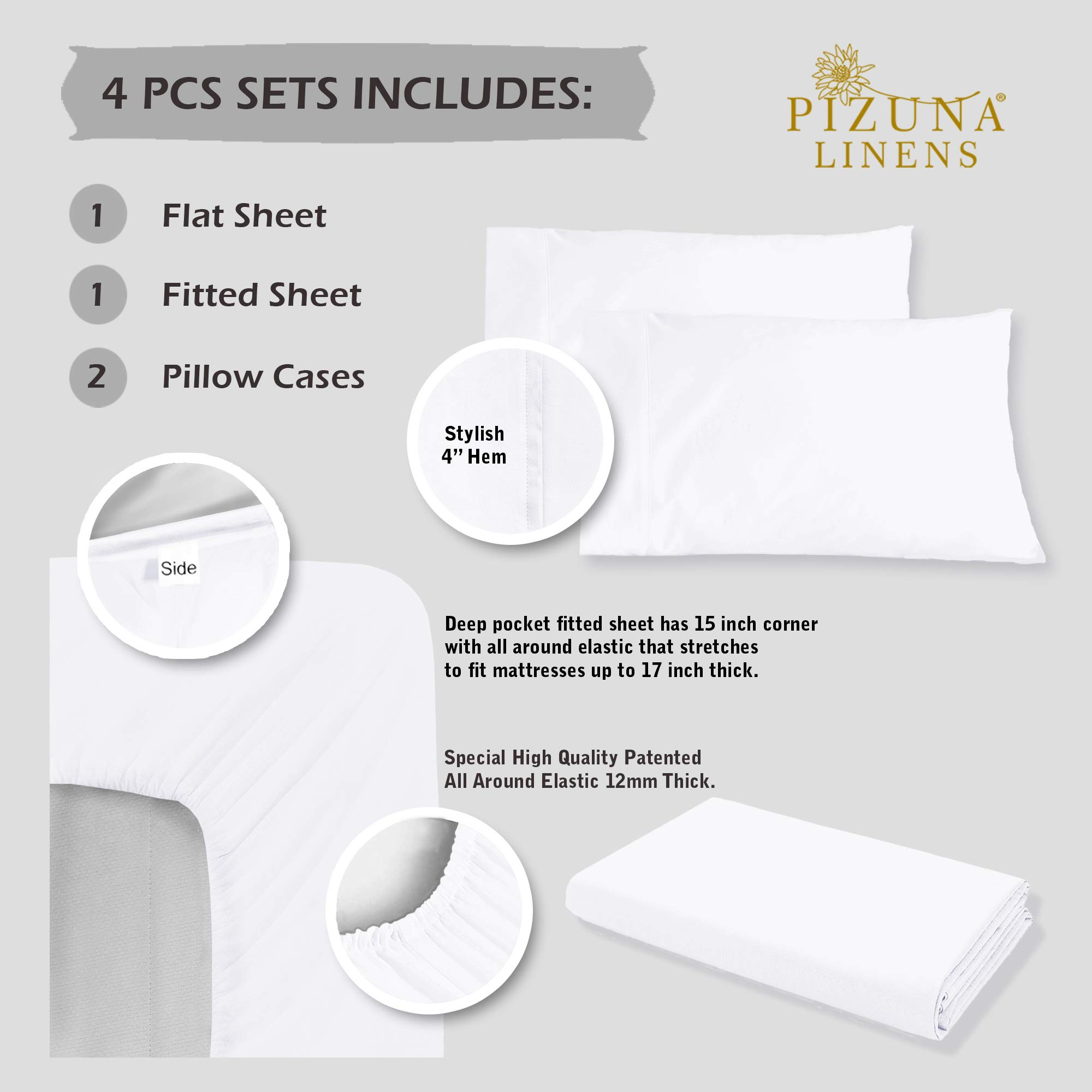 Luxurious 800 Thread Count Cotton Queen Sheets Set White, 100% Long Staple Cotton Smooth Sateen Bed Sheets, High Thread Count Sheets fit Upto 17'' Deep Pockets (White Queen 100% Cotton Sheet Sets) by Pizuna (Image #4)