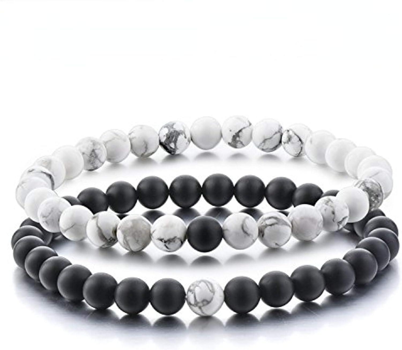 Believe London Distance Bracelets (18cm Negro & 20cm Blanco): Amazon.es: Joyería