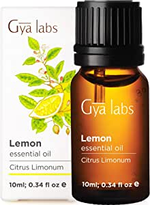 Gya Labs Lemon Essential Oil - Mood Lifter for Healthier Skin & Cleaner Homes (10ml) - 100% Pure Natural Therapeutic Grade Lemon Oil Essential Oils for Aromatherapy Diffuser & Topical Use