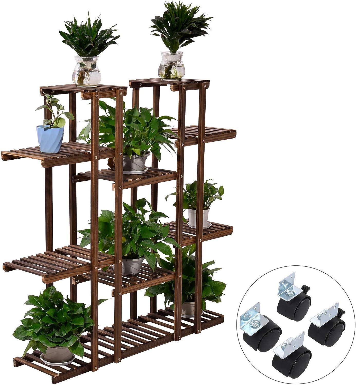 Houssem /Étag/ère /à Fleurs en Bois Porte Pots de Plante Fleurs Tablettes Support /à roulettes pour int/érieur et lext/érieur