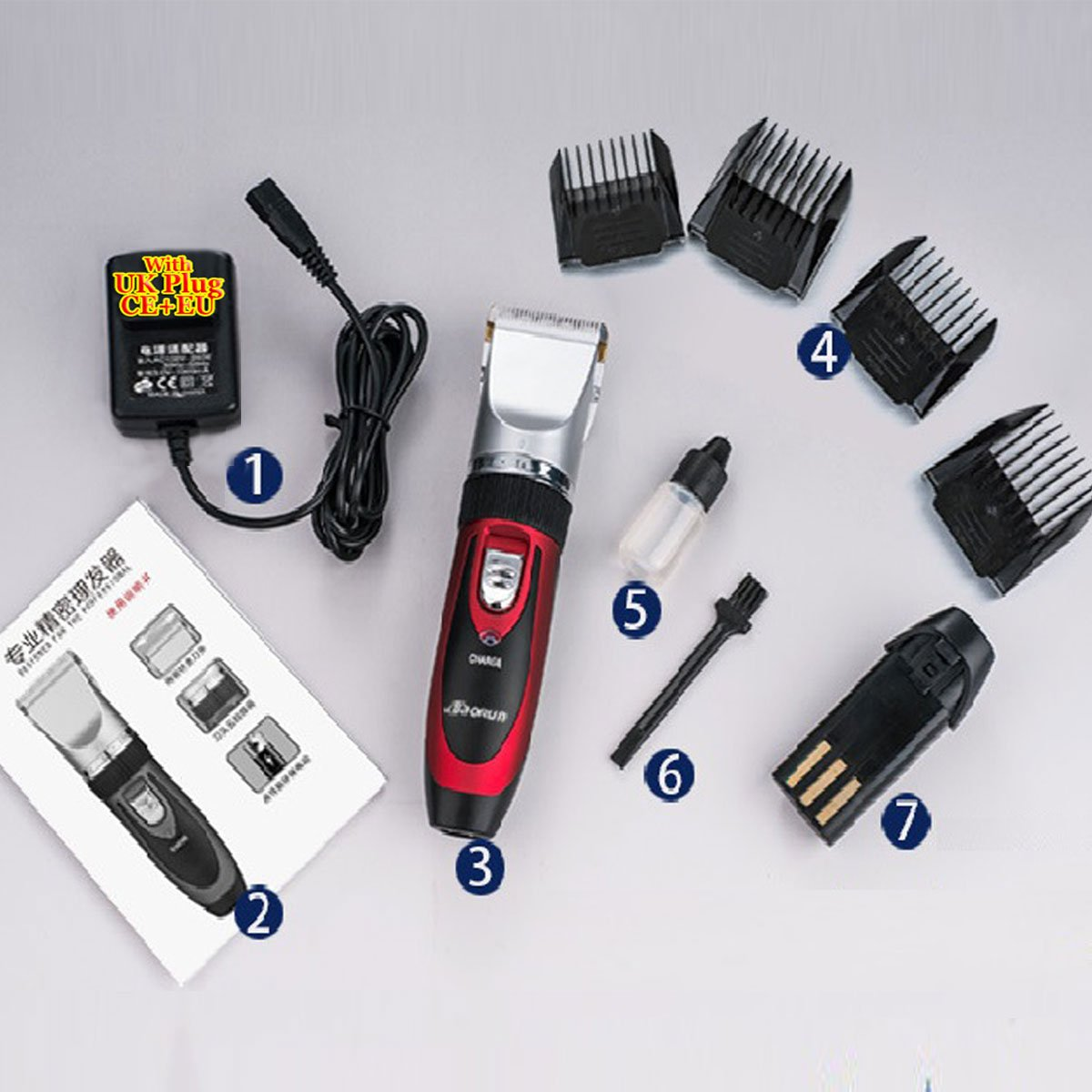 Super Quiet Cordless battery Electric Hair Cutting Machine RECHARGEABLE HAIR CLIPPER TRIMMER home Barber Clippers Set (RED)