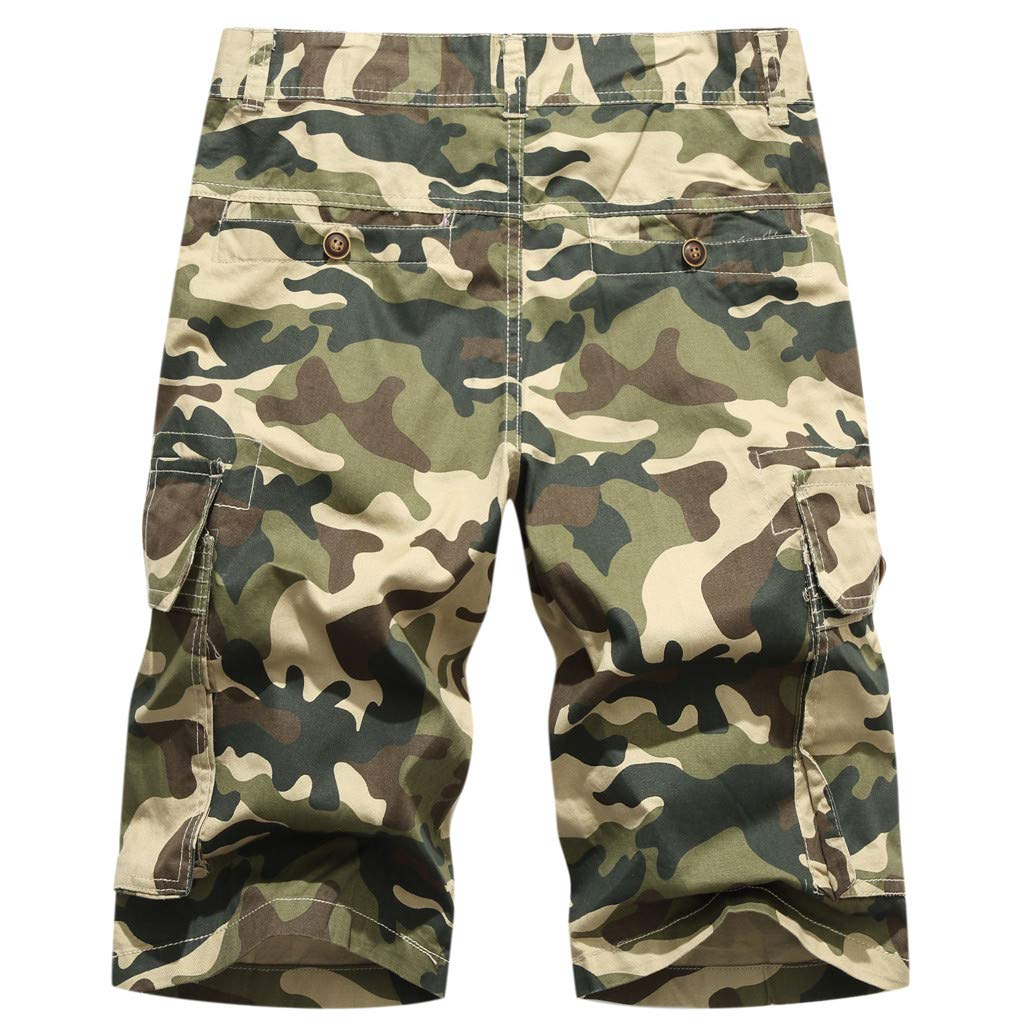 Palarn Sports Pants Casual Cargo Shorts Mens New Summer Camouflage Multi-Pocket Overalls Fashion Casual Beach Trousers