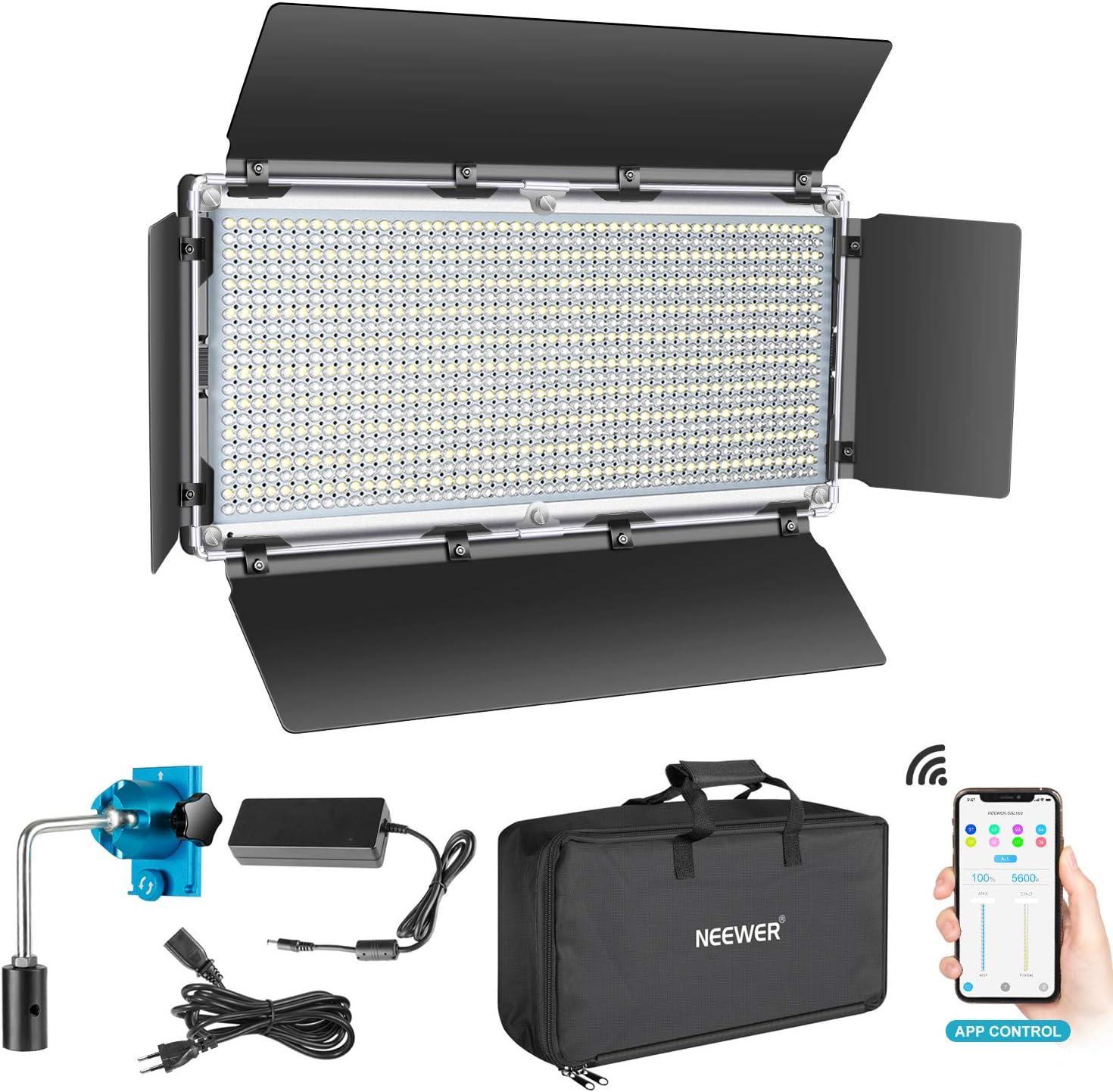 Neewer 960 LED Luz Video con Sistema de Control Inteligente App Kit de Iluminación LED de Fotografía Bicolor Regulable 3200K-5600K para Iluminación Video Exterior de Estudio Youtube con Pantalla LCD: Amazon.es: Electrónica
