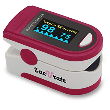 Zacurate Pro Series 500D Deluxe Fingertip Pulse Oximeter Blood Oxygen  Saturation Monitor with Silicon