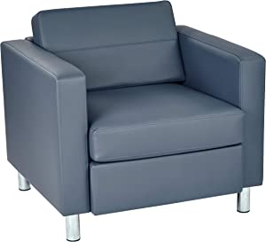OSP Home Furnishings Pacific Arm Chair with High Performance, Easy Care Vinyl Over Padded Spring Seats with Silver Finish Legs, Dillon Blue Faux Leather