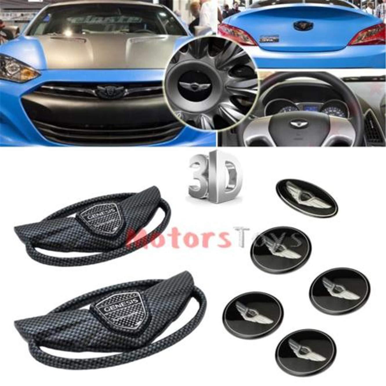 Luck16888 7pcs Emblem Badge Grille Trunk Steering Wheel Rim Cover ...