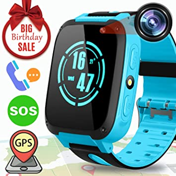 Niños Smartwatch Teléfono para niños Niños Chicas GPS Rastreador con SOS Podómetro de Llamada Anti-Perdida 1.54 Cámara Reloj Despertador Juego Reloj ...