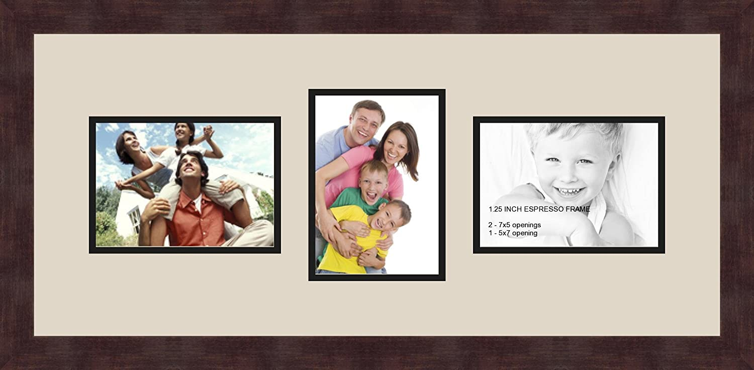 Art to Frames Double-Multimat-213-844//89-FRBW26061 Collage Frame Photo Mat Double Mat with 3-5x7 Openings and Espresso Frame