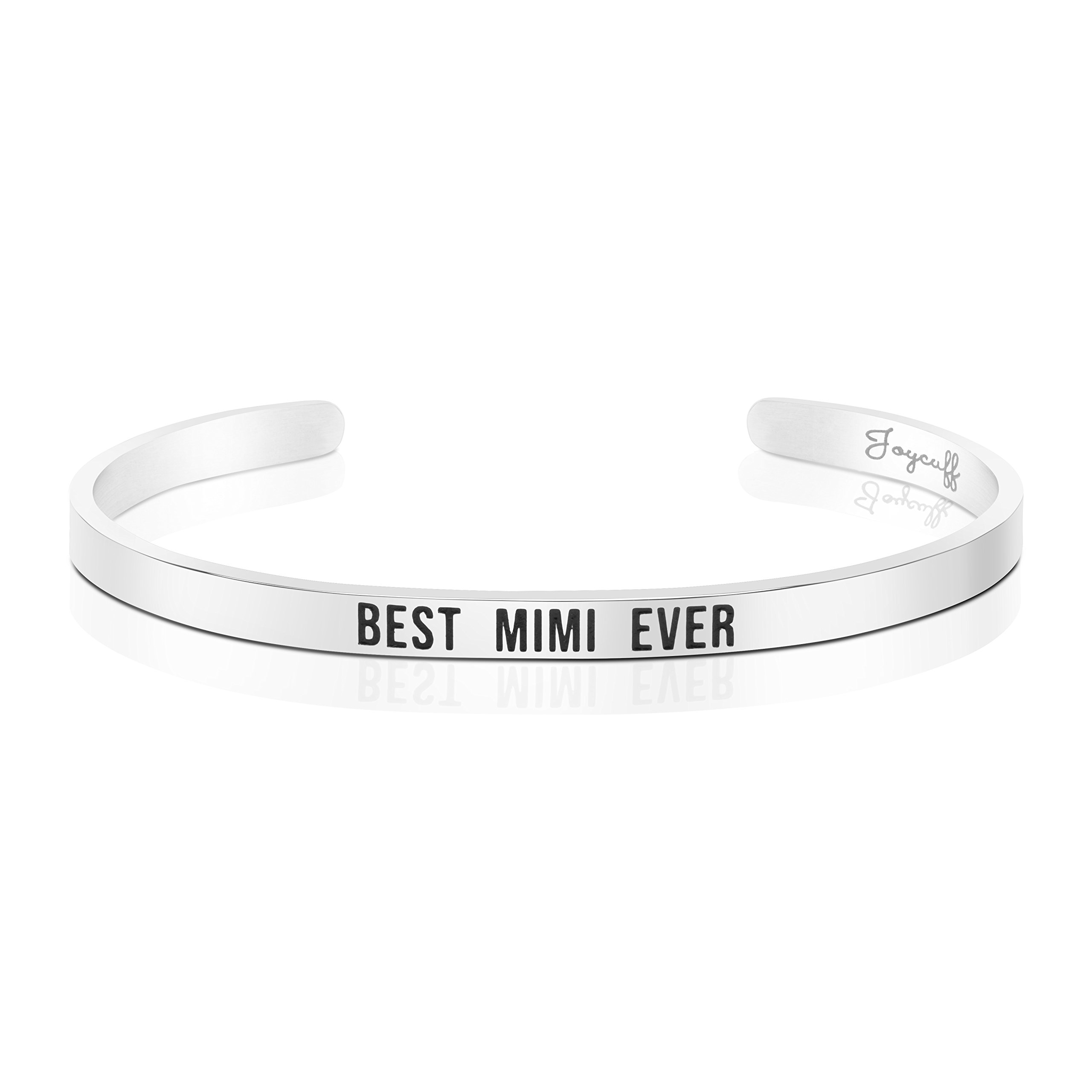 Joycuff Best Mimi Ever Bracelet Jewelry Gifts for Grandma Mantra Cuff Bracelets Bangle