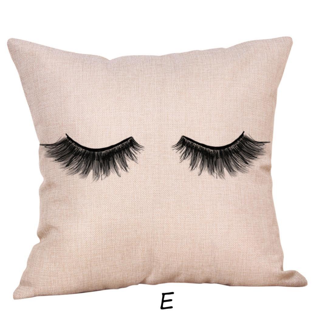 Leyorie Creative Eyelash Pillow Cases Simple Design Sofa Cushion Cover Home Decorative Pillowcase (E)