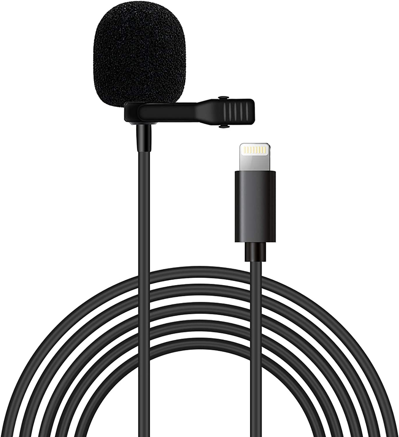 Microphone Professional for iPhone/ipad Grade Lavalier Lapel Omnidirectional Phone Audio Video Recording Lavalier Condenser Microphone (iOS 3m)