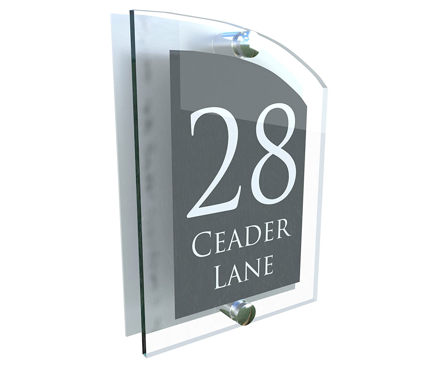 ARCHED ACRYLIC HOUSE SIGN | UV PRINTED | Genuine Perspex | PLAQUE DOOR NUMBER STREET GLASS EFFECT ACRYLIC ALUMINIUM NAME ARCA5-28WA-S-C K Smart Sign Ltd
