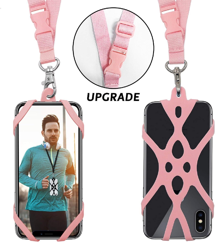 Correa del acollador del teléfono celular, cubierta del caso universal Collar correa para la muñeca con ranura para tarjeta de identificación para el iPhone X 8 7 6 Galaxy S7 Huawei P10 (rosa)