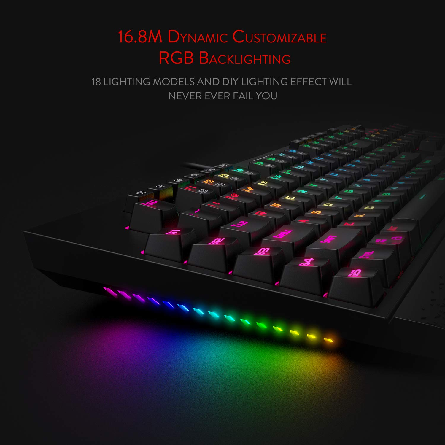 Redragon K586-PRO Brahma RGB Mechanical Gaming Keyboard with Fast Optical Blue Switches, 10 Dedicated Macro Keys, Convenient Media Control, and Detachable Wrist Rest