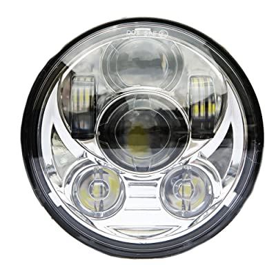 Wisamic 5-3/4 5.75 inch LED Headlight - Compatible with Harley Davidson Dyna Street Bob Super Wide Glide Low Rider Night Rod Train Softail Deuce Custom Sportster Iron 883-Silver: Automotive