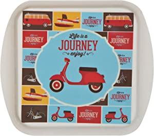 Snack Tray Serving Platter With Molded Handles - Life is a Journey Enjoy the Ride - Retro Scooter Bike Plane Van Design