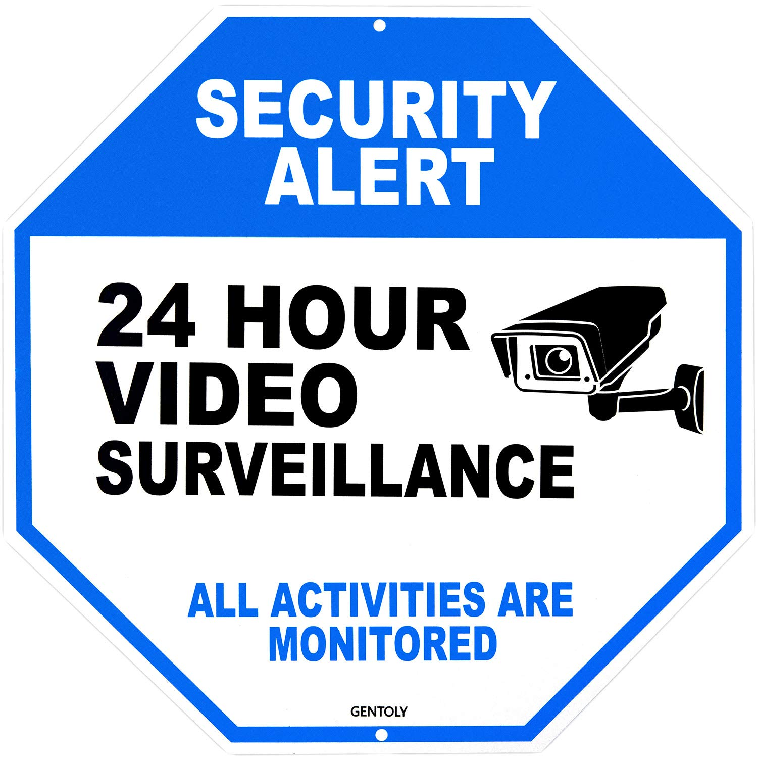 """Video Surveillance Sign - Home Security Sign - Security Camera Sign - All Activities are Monitored - Rust Free 12"""" x 12"""" Aluminum Sign, by Gentoly"""