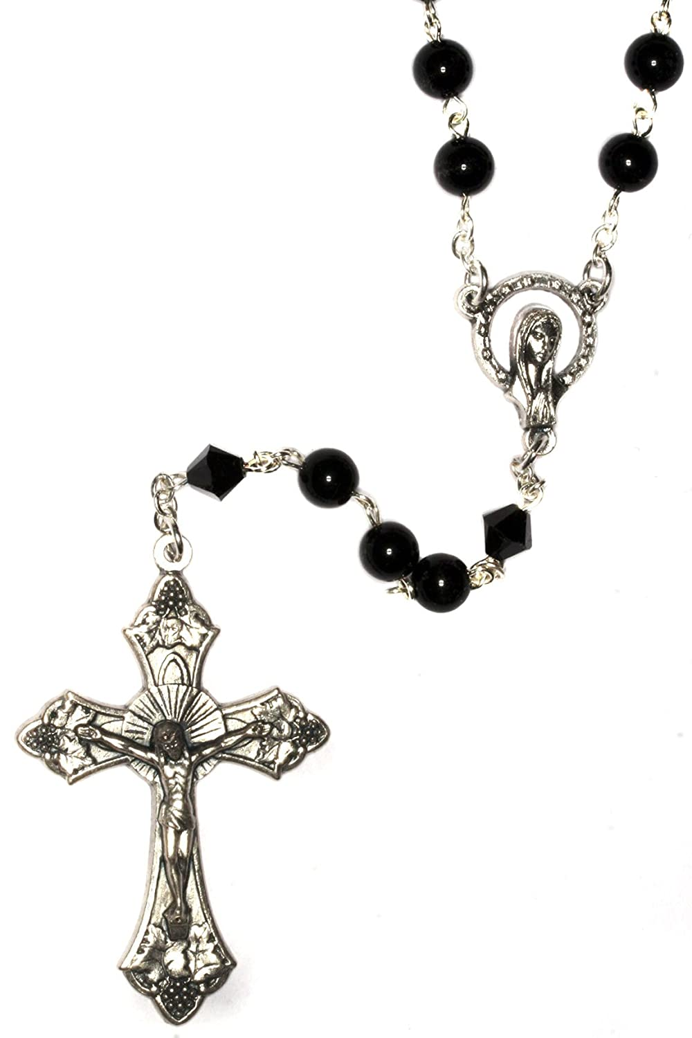 Silver Rosary made with Black Obsidian Gemstones and Swarovski Crystal elements