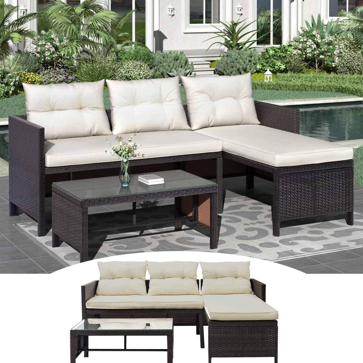 70.9''L- Patio Furniture 3 Pcs with Double Seat and Chaise Lounge Couch Seat Brown Rattan Wicker Sofa Set with Thicken Cushions