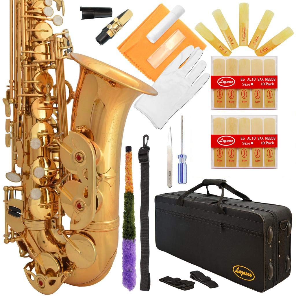 Lazarro Professional Gold Lacquer Eb E-Flat Alto Saxophone Sax with Case, 21 Reeds, Many Extras~Ready to Play~360-LQ-PRO by Lazarro