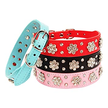 4a4a812d758 AOLOVE Fashion Rhinestones Diamante Adjustable Pu Leather Pet Collars for  Cats Puppy Small Dogs (Medium