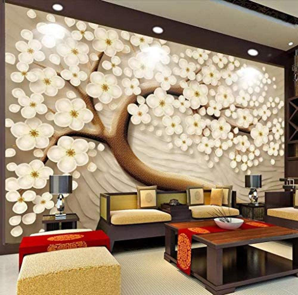 Wall Mural 3d Effect Wallpaper Embossed Lucky Tree Happy Tree Chinese Background Wall Wallpaper 3d Wallpaper Modern Wall Decor Murals Amazon Co Uk Diy Tools