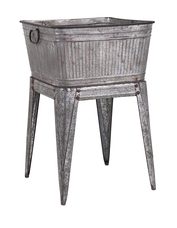 Benzara Multi-Functional Galvanized Metal Tub, Gray