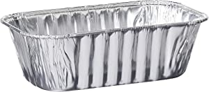 Plasticpro [1 Lb 100 Pack] Disposable Loaf Pans Aluminum Tin Foil Meal Prep Bakeware - Cookware Perfect for Baking Cakes, Bread, Meatloaf, Lasagna 1 Pound 6'' X 3.75'' X 2''