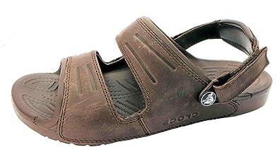 a4e326e6bbc Crocs pour homme Yukon deux Sangle Composition Cuir Strapped Sandales -  Marron - marron