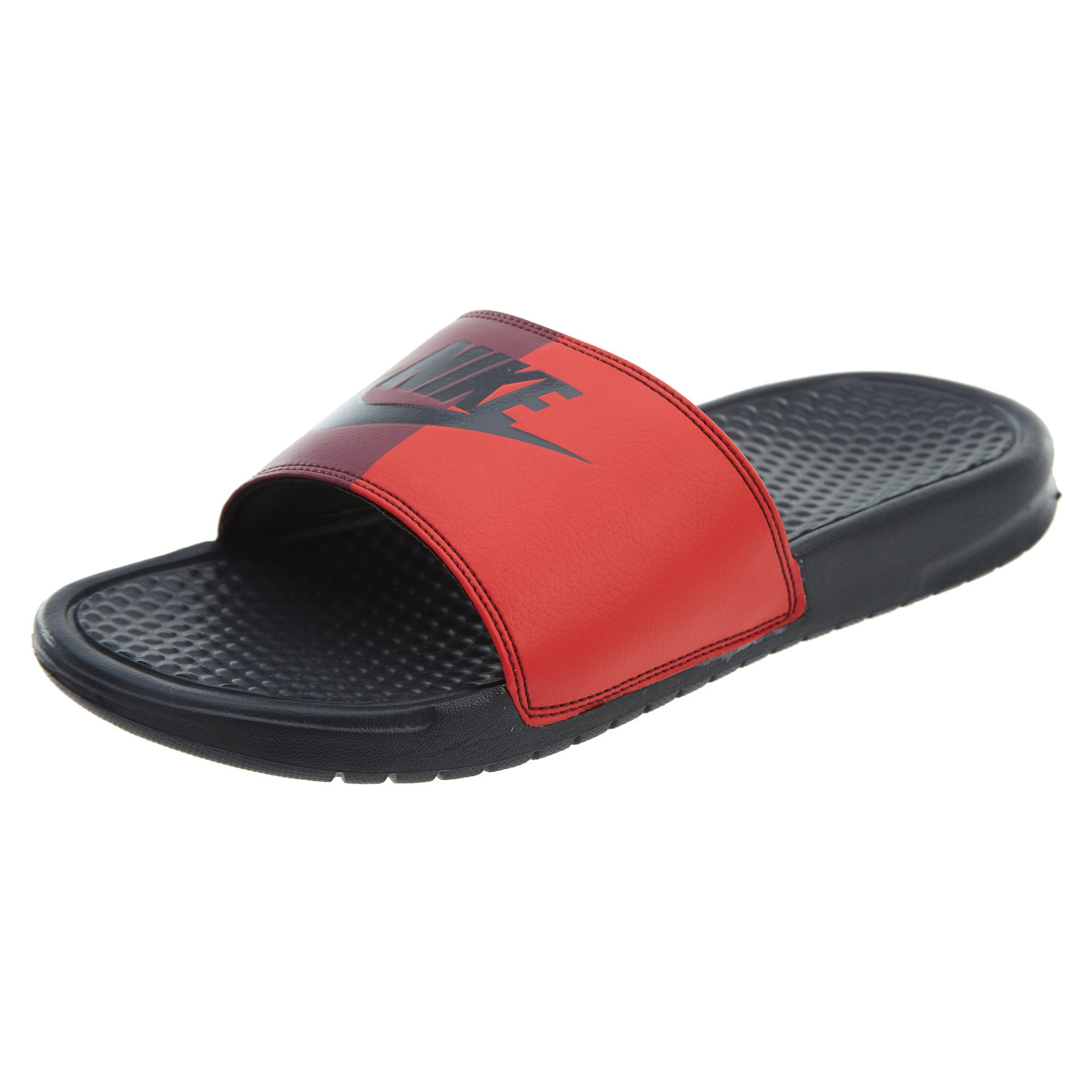 NIKE Men's Benassi Just Do It. Sandal - Anthracite/Anthracite-University RED - 343880-008 - SZ. 14