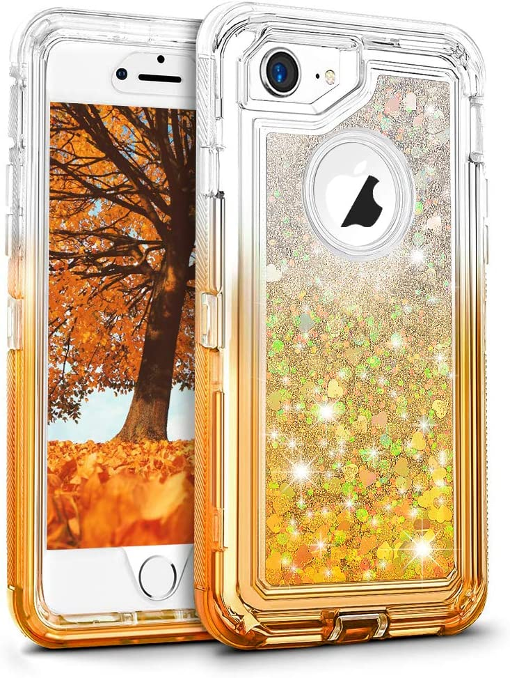 MAXCURY SCRIPTANE PW 24/27 H Liquid Glitter Quicksand Case for iPhone 6/6s/7/8 in 4.7 Regular Size, Full Body Protection 3 in 1 Hard PC Bumper + Soft TPU Back Cover - Gradient Yellow